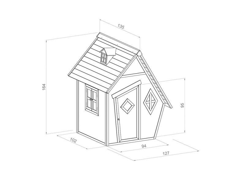 AXI Sunny houten speelhuis Cabin junior 102 x 94 x 159 cm Blank