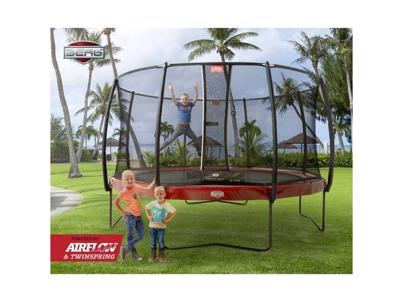 BERG Trampoline Elite Regular 430 + Safetynet Deluxe XL Rood