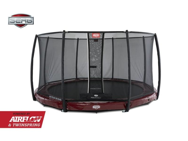 BERG Trampoline Elite InGround 380 + Safety Net Deluxe Groen/Grijs/Rood