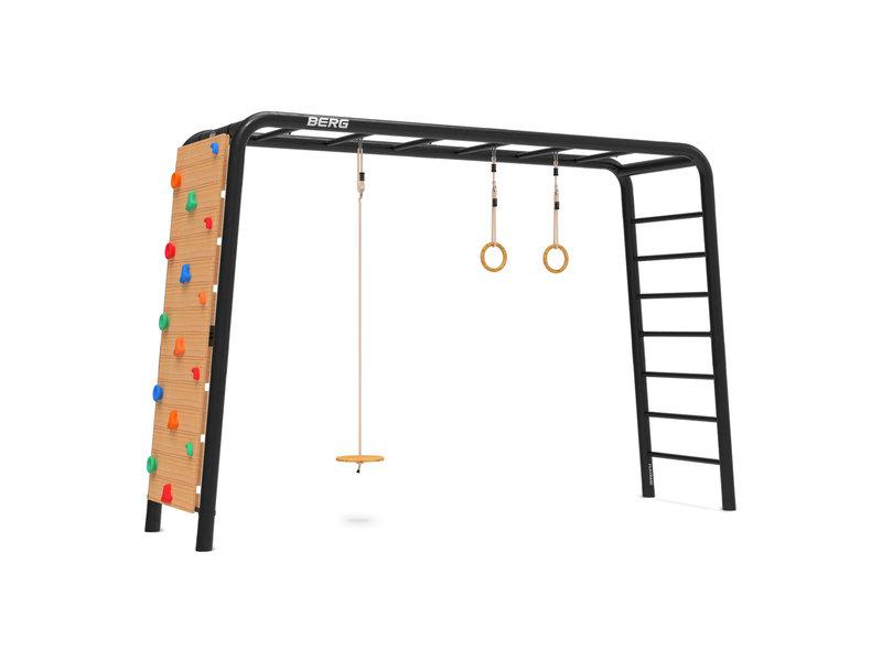 BERG Playbase 3-in-1 Large met rekstok en ladder inclusief schotelschommel, turnringen en klimmuur