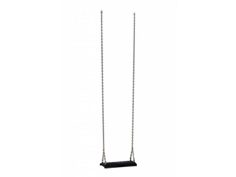 Rubberen schommelzitje - 'comfort' - rvs kettingset - 3.0 m (eff: 2.5 m) - zwart