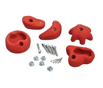 Klimstenen - set van 5 stuks - medium - rood
