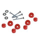 Bevestigingset voor duikelstang - schroeven, ringen en afdekdoppen - rood