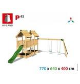Hy-land speeltoestel P4S met schommel - Groene glijbaan