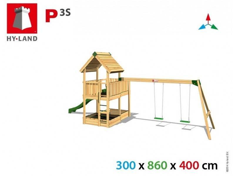 Hy-land speeltoestel P3S met schommel - Groene glijbaan