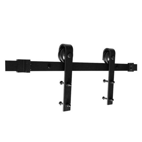 Rustiek loftdeur schuifdeurbeslag zwart recht model - lengte rail 200 cm