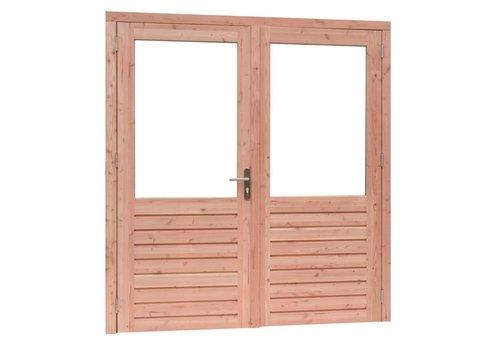 Prestige Douglas dubbele deur (6 ruits) - Dubbel glas - 202 x 221 cm