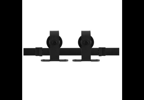 Rustiek loftdeur schuifdeurbeslag zwart t.b.v. bovenmontage - lengte rail 200 cm