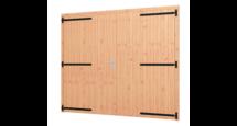 Opgeklampte douglas deur dubbel XL onbehandeld 2400x2100mm + kozijn 2540x2170mm (zonder hang- en sluitwerk)