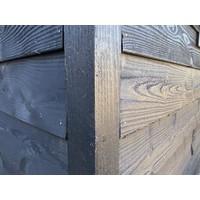 Lariks Douglas schuttingpaal / hoekpaal 7,5 x 7,5 cm - Zwart gespoten