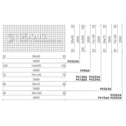 Staalmat PS252a Ø4-50 2 x 3 Verzinkt