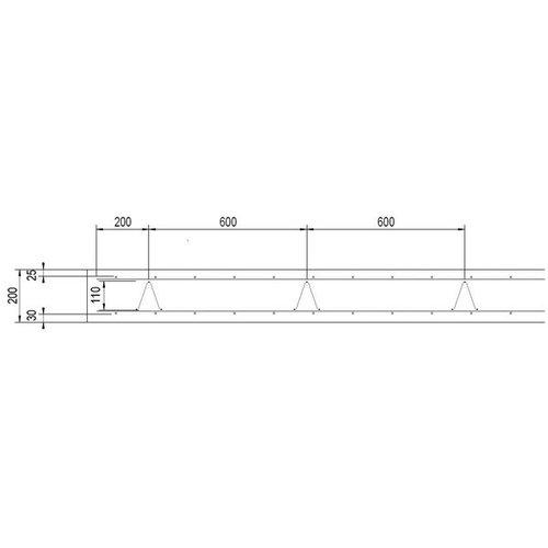 Supportligger H13 cm - lengte 200 cm