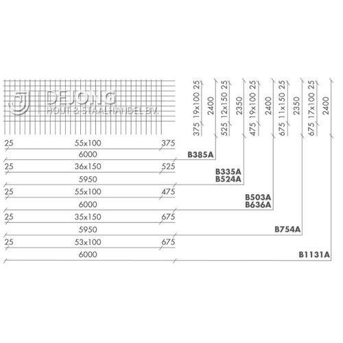 Bouwstaalmat B636a Ø9-100 2.40 x 6.00 meter