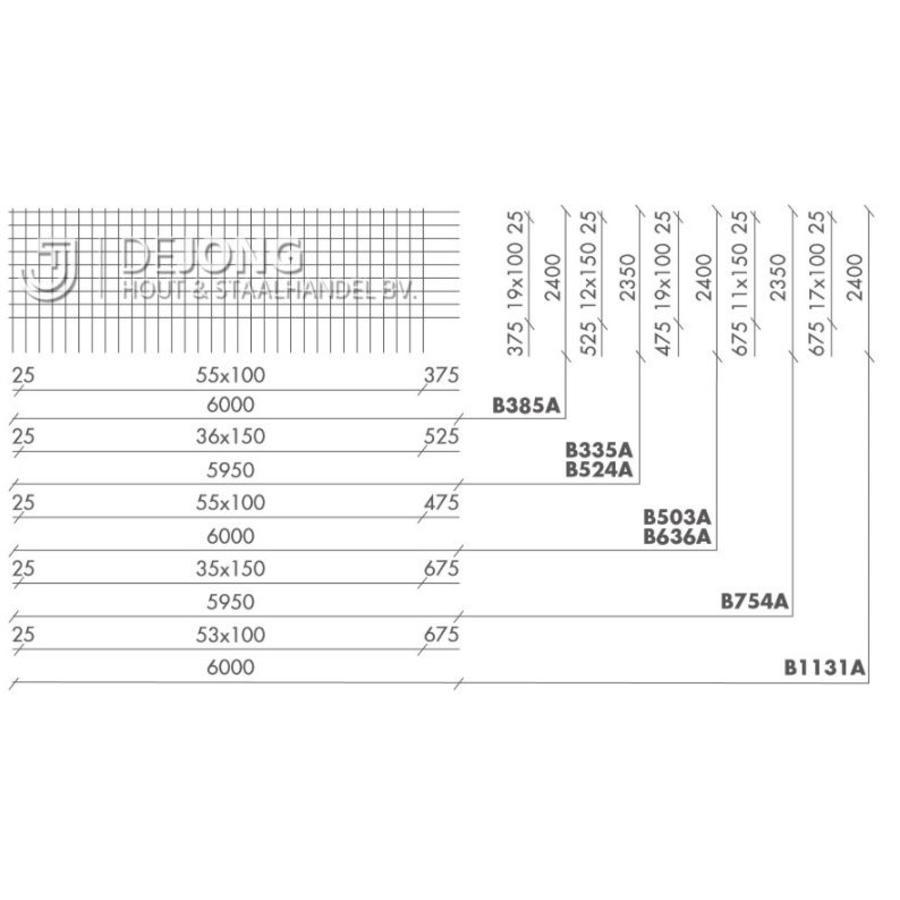 Bouwstaalmat B385a Ø7-100 2.40 x 6.00 meter