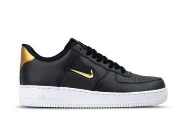 Nike Air Force 1 '07 LV8 LTHR Black Metallic Gold White AJ9507 003 AJ9507 003