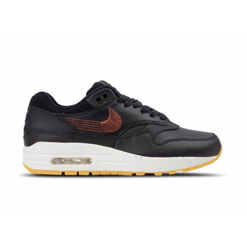 WMNS Nike Air Max 1 PRM Black Black Gum Yellow 454746 020