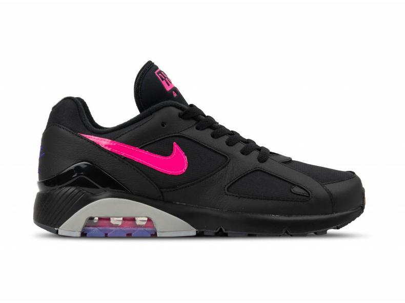 71e63fcf7d10 Nike Air Max 180 Black Pink Blast Wolf Grey AQ9974 001