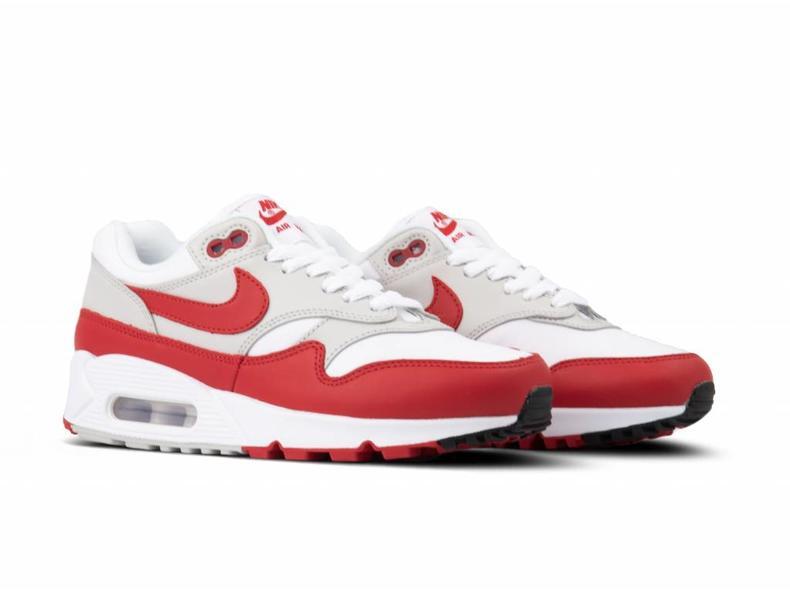 79e3f28ae8 Nike Air Max 90 1 White University Red Grey Black AQ1273 100