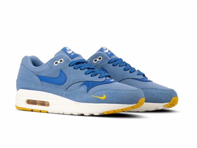 94f5dd444 Nike Air Max 1 Premium Work Blue Mountain Blue Yellow Ochre 875844 ...