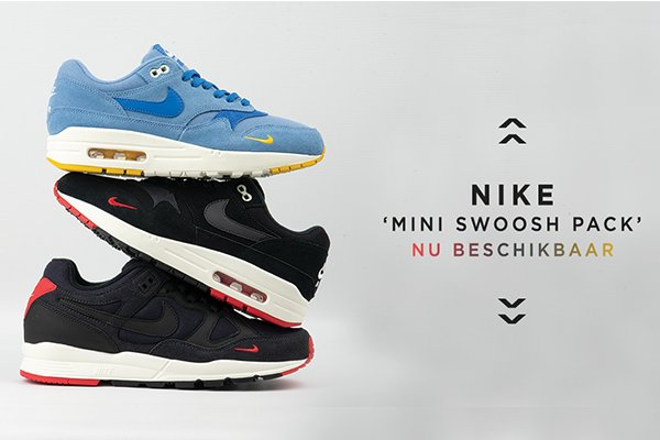 Nike Air Max 1 & Air Span II 'Mini Swoosh pack' in blauw
