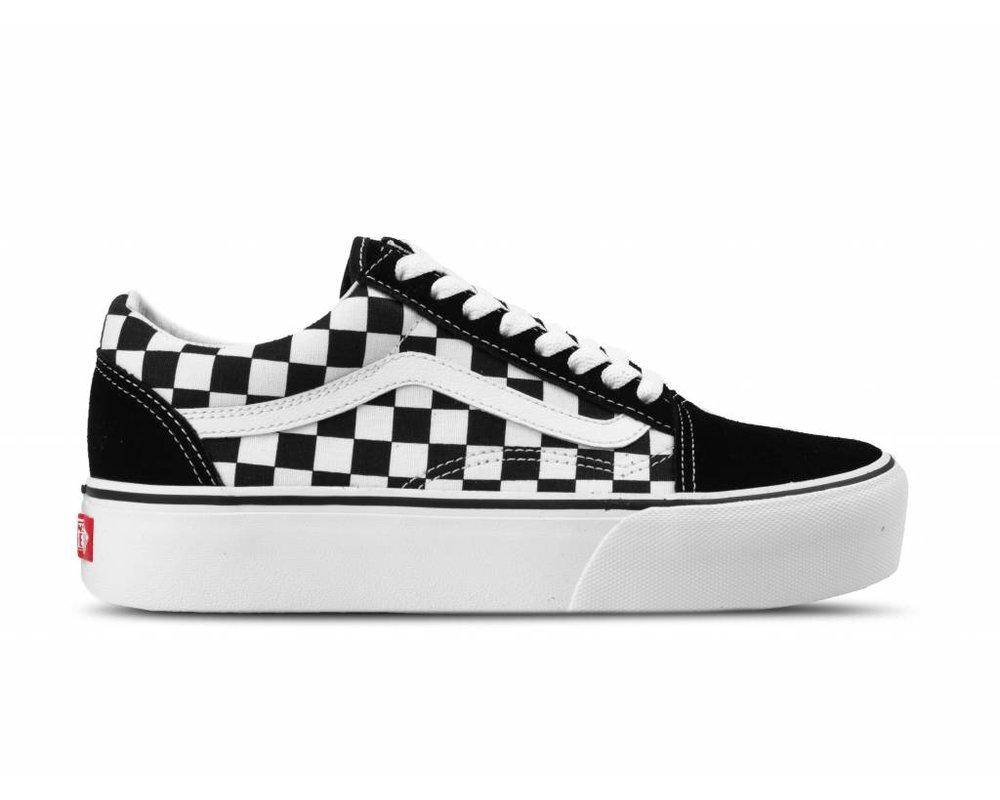 Vans Old Skool Platform Checkerboard Black True white ...