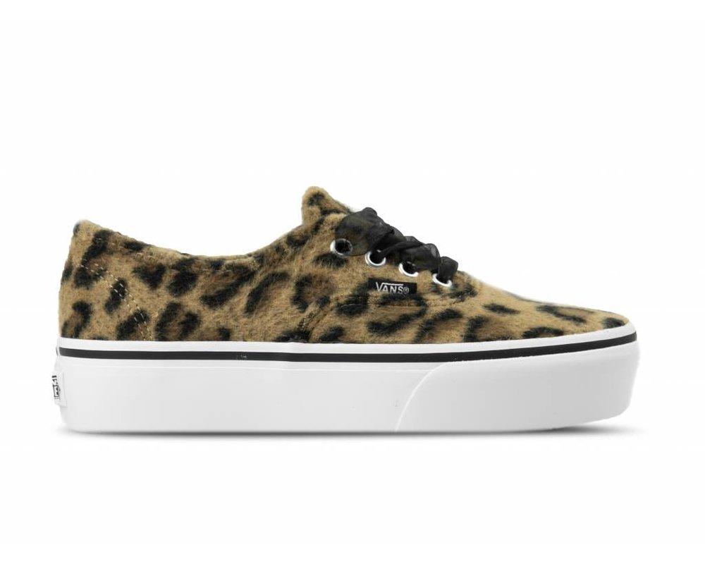 sports shoes 7bbfb 6316a Vans Authentic Platform Fuzzy Leopard True White ...