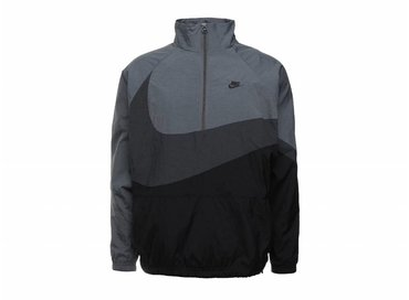 Nike Swoosh Half Zip Jacket Black Anthracite Dark Grey AJ2696 011