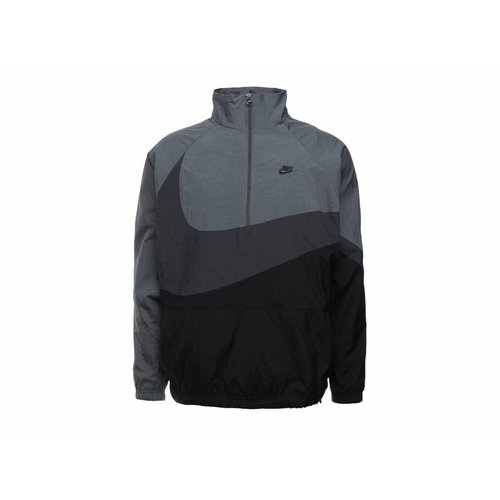 Swoosh Half Zip Jacket Black Anthracite Dark Grey AJ2696 011