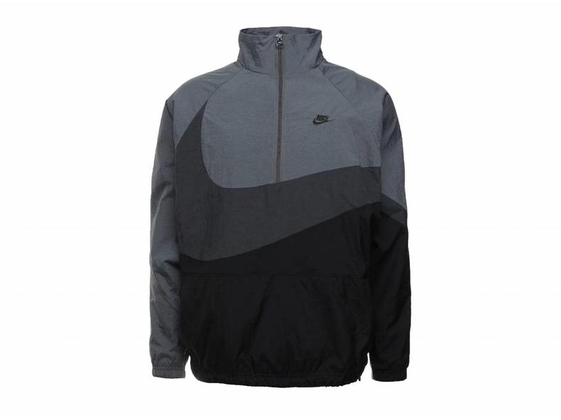 b873f8aec315 Nike Swoosh Half Zip Jacket Black Anthracite Dark Grey AJ2696 011 ...