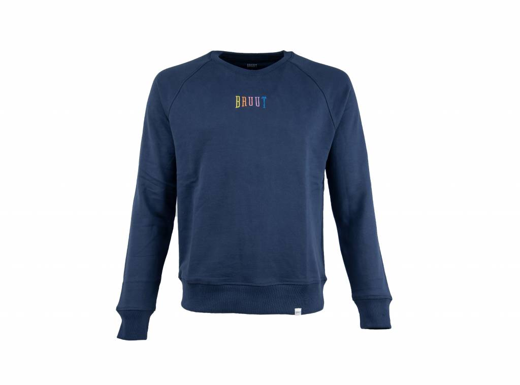 Niban Basic Crewneck Dark Blue Rainbow HFD212