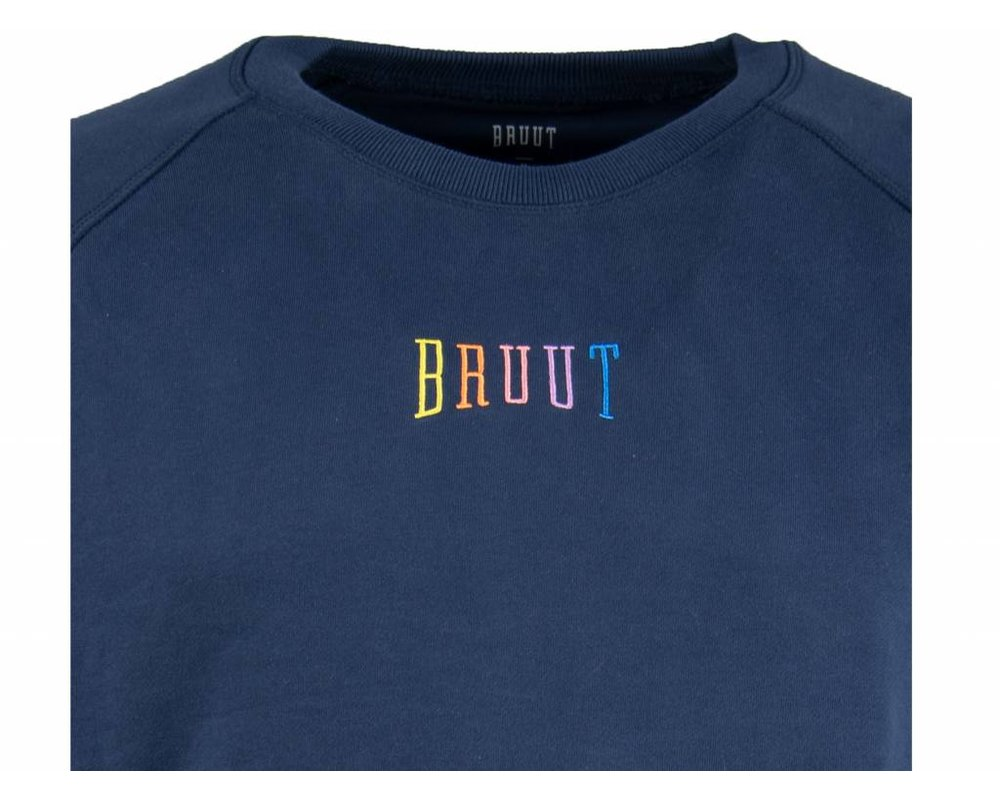 Bruut Niban Basic Crewneck Dark Blue Rainbow HFD212