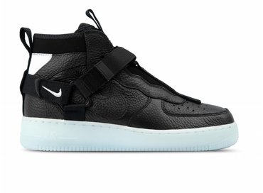 Nike Air Force 1 Utility Mid Black Half Blue White AQ9758 001