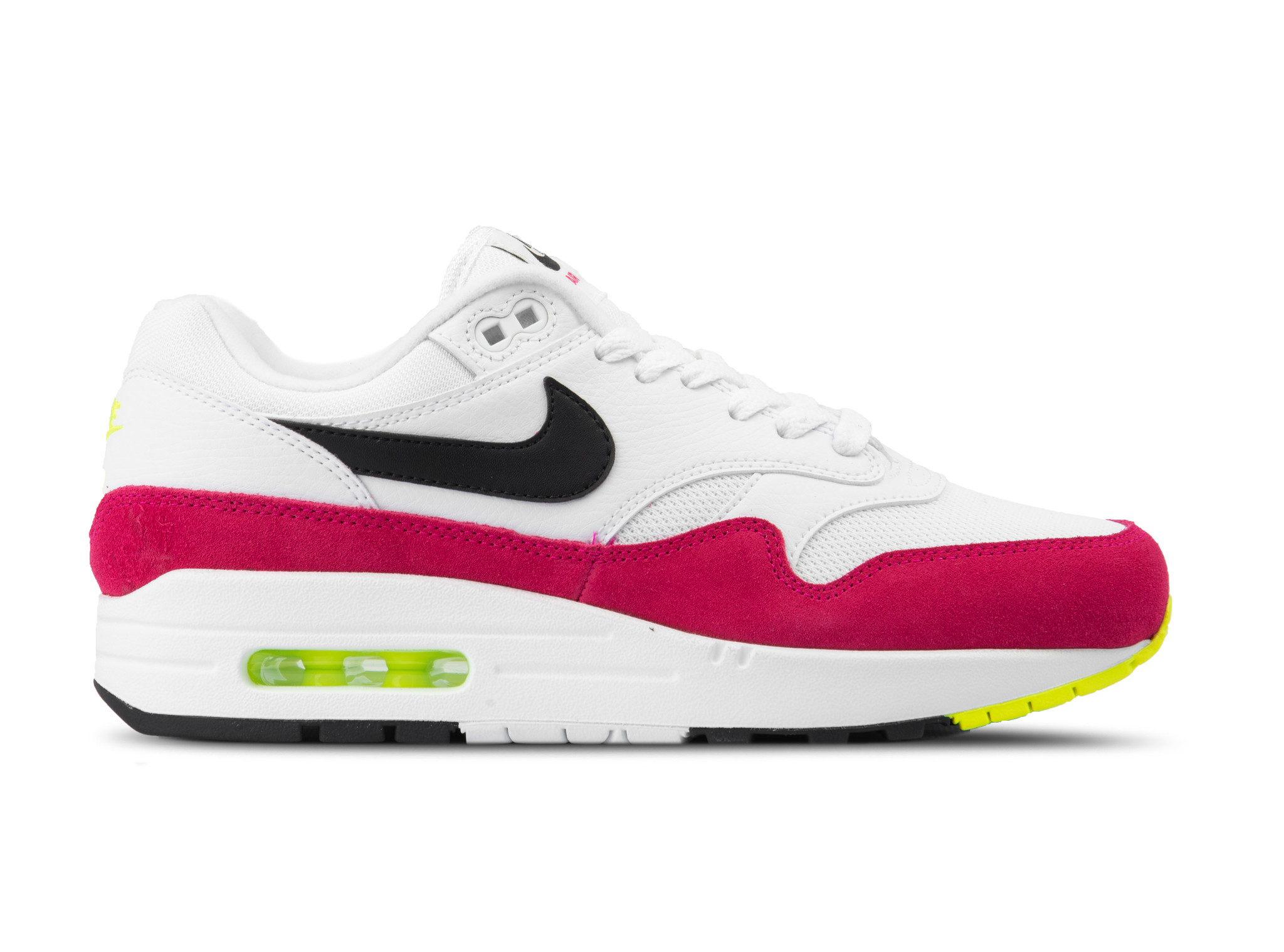Nike Air Max 1 White Black Volt Rush Pink AH8145 111 | Bruut