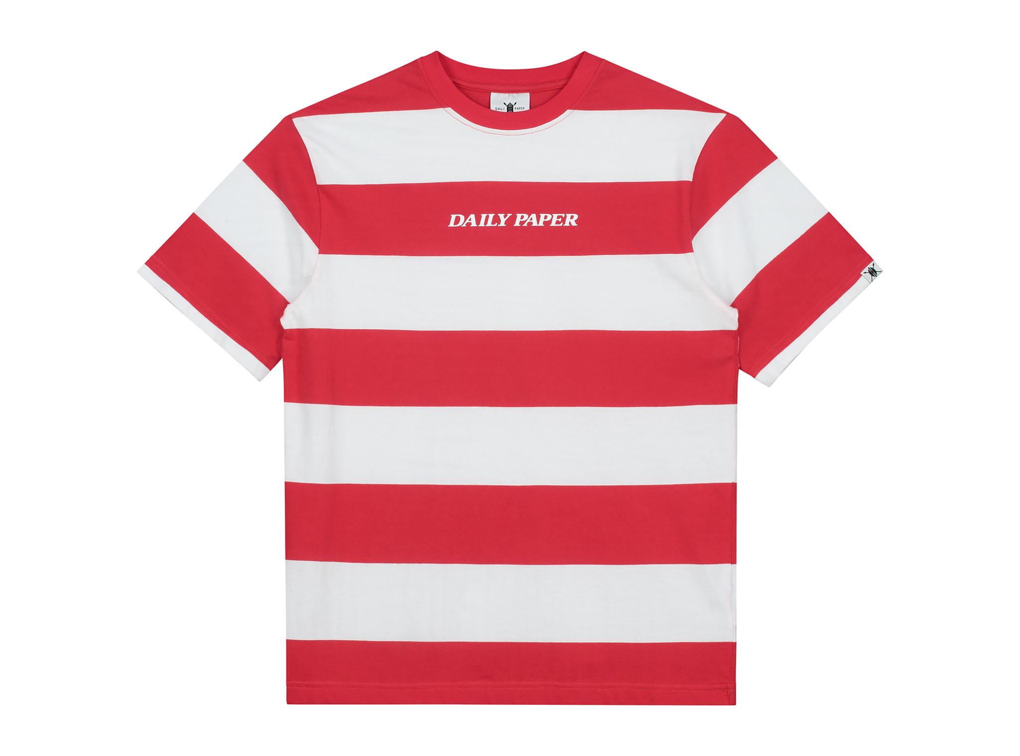 Striped T Shirt Red White 19R1TS02 01