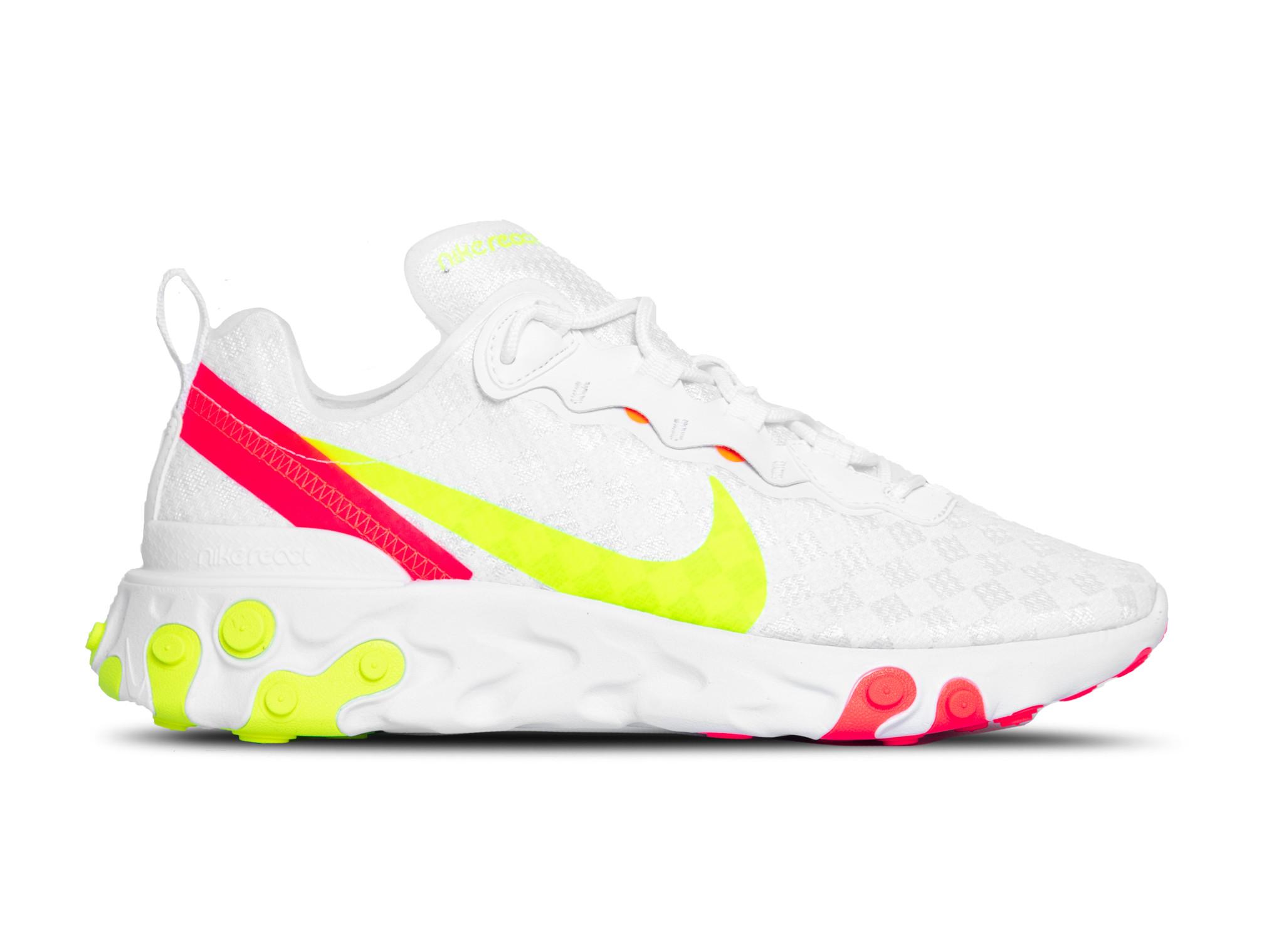 latest discount special section ever popular Nike React Element 55 White Volt Flash Crimson CJ0782 100 ...