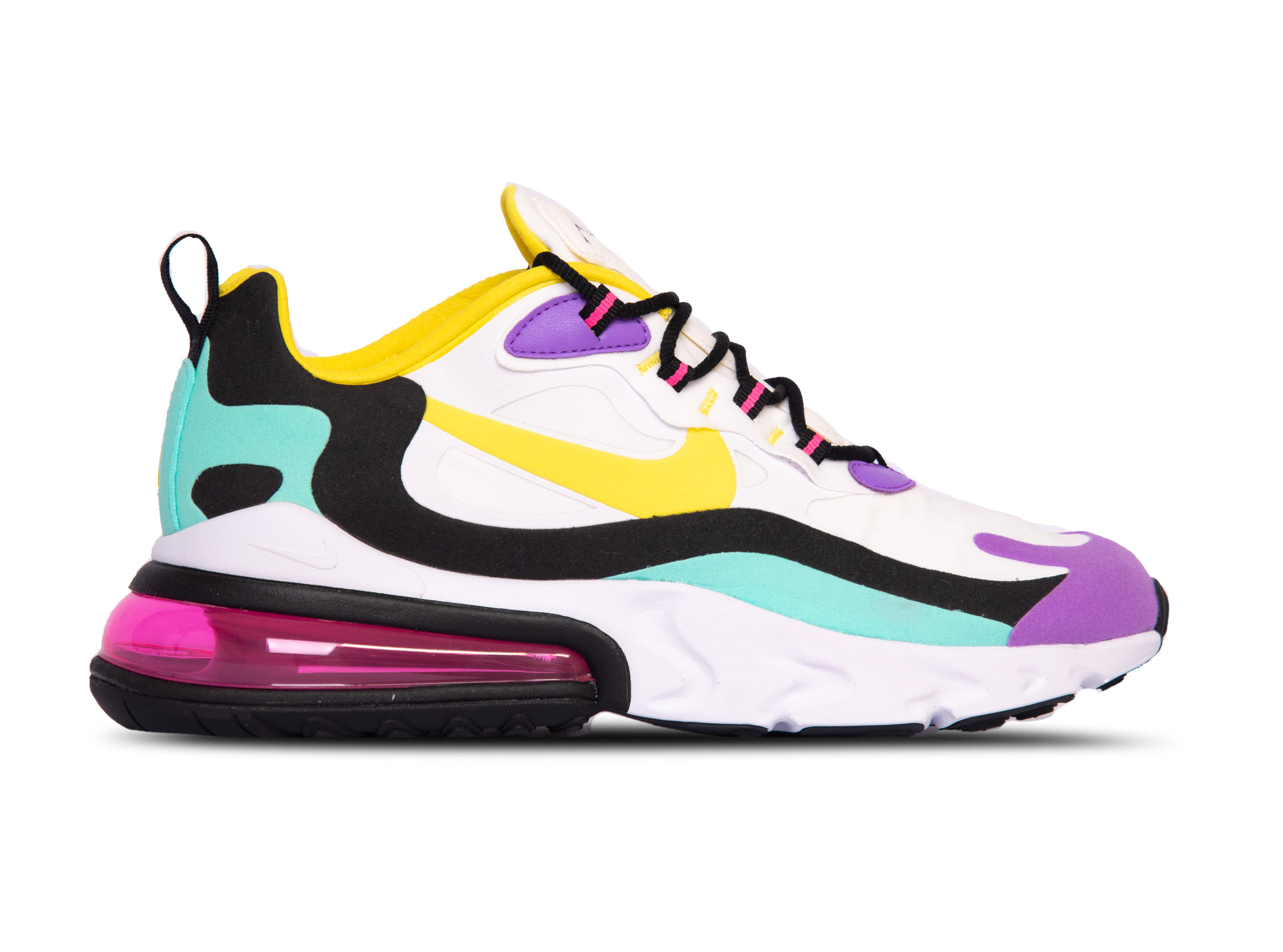 Air Max 270 React White Dynamic Yellow Black Bright Violet