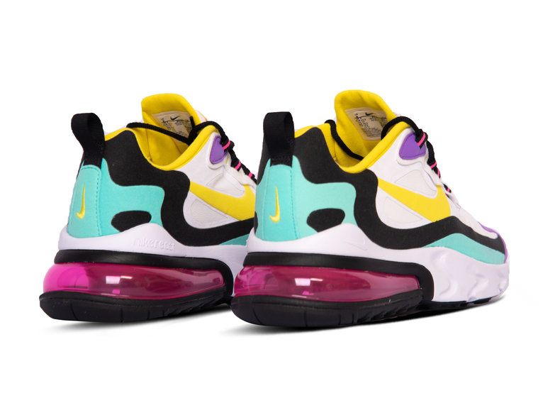 Air Max 270 React White Dynamic Yellow Black Bright Violet AO4971 101