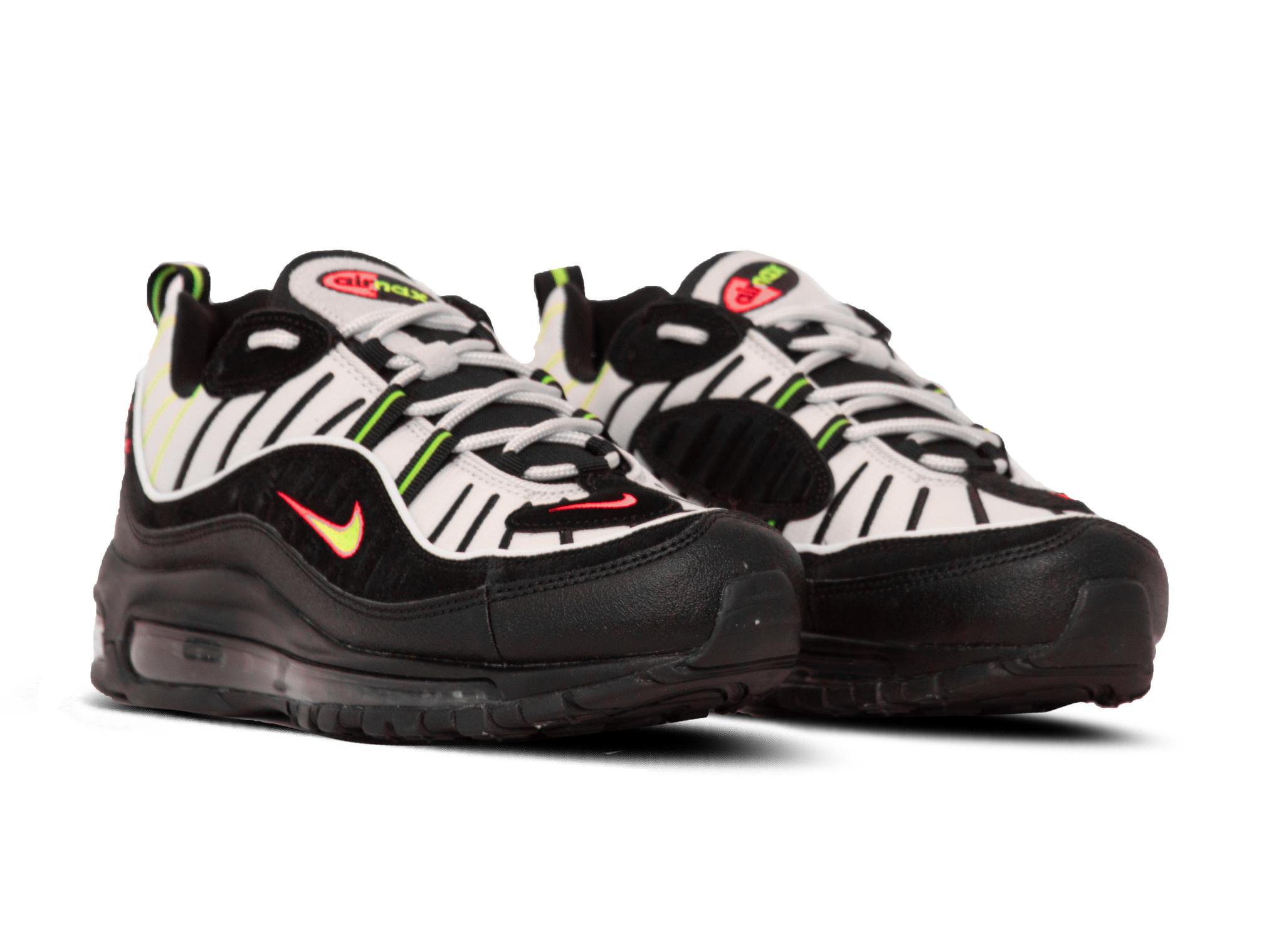 Air Max 98 Platinum Tint Black Electric Green 640744 015