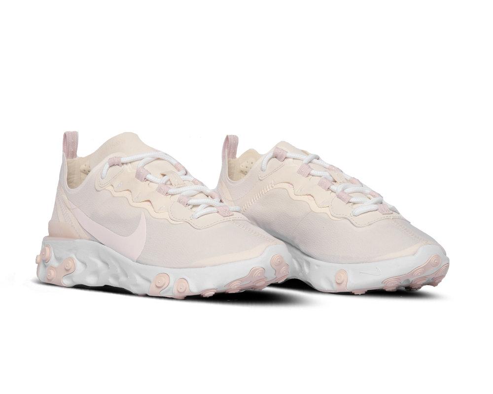 Nike React Element 55  Pale Ivory Light Soft Pink White  BQ2728 103