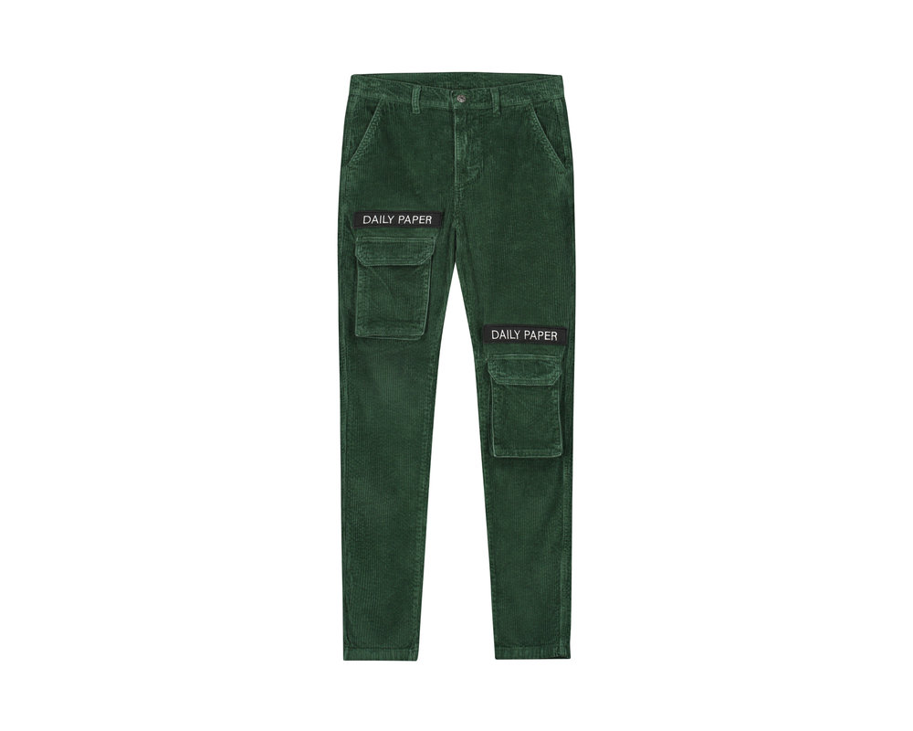 Daily Paper Cargo Pants Corduroy Green 19H1PA02 01
