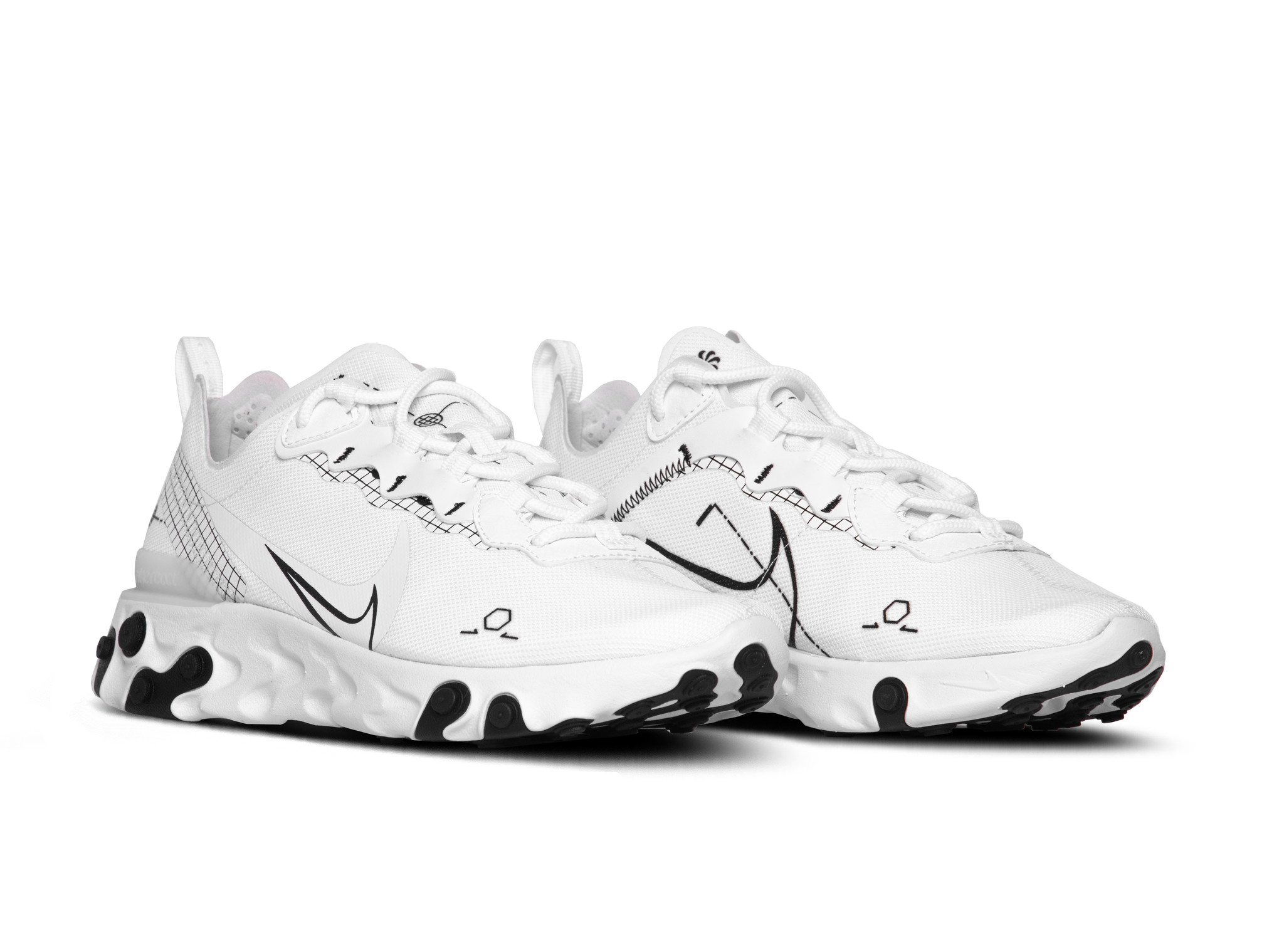 Nike React Element 55 White Black CU3009 100