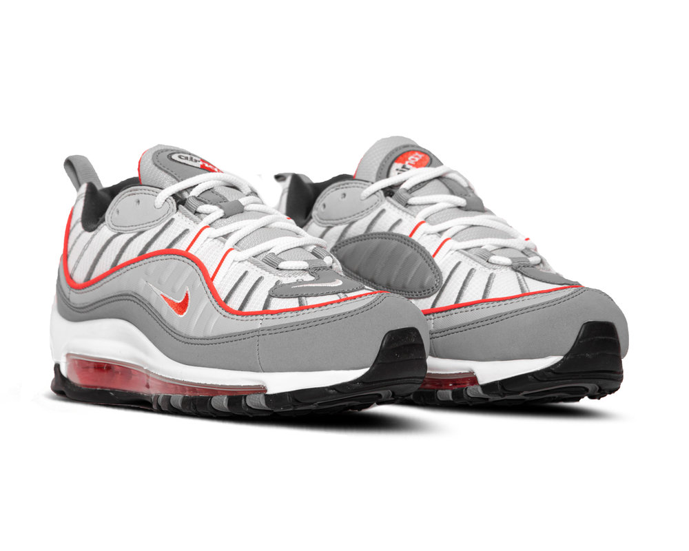 Nike Air Max 98 White Particle Grey Track Red Iron Grey CI3693 001
