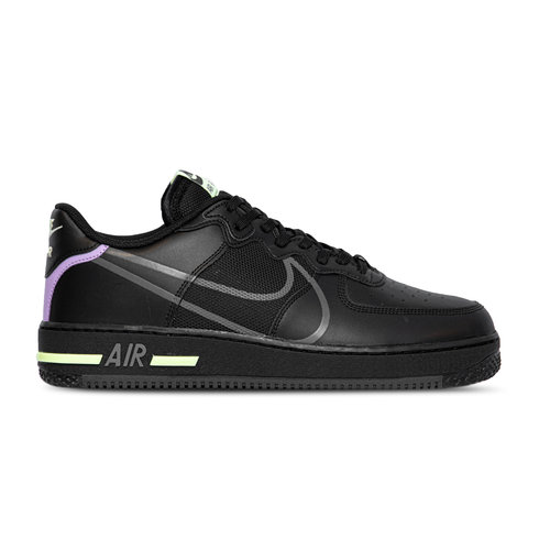 Air Force 1 React Black Anthracite Violet Star Barely Bolt CD4366 001