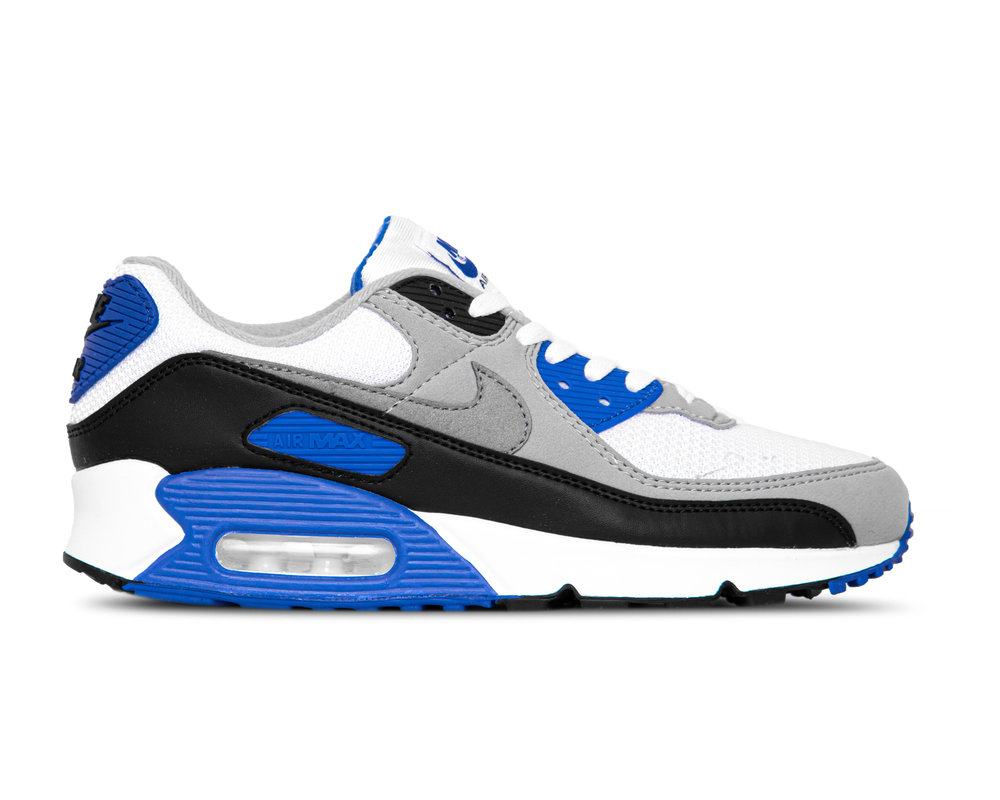 Nike Air Max 90 White Particle Grey Hyper Royal Black CD0881 102