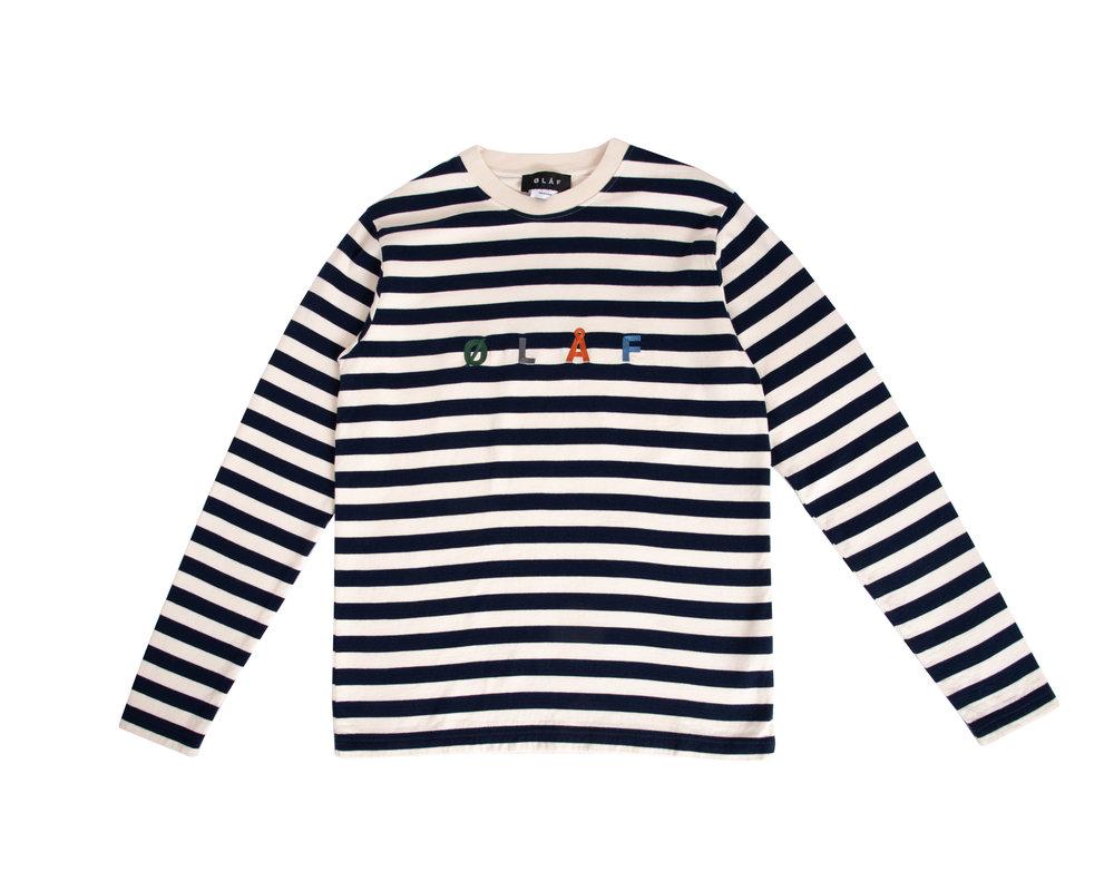 Olaf Hussein Stripe Sans LS White Blue SS20 0015