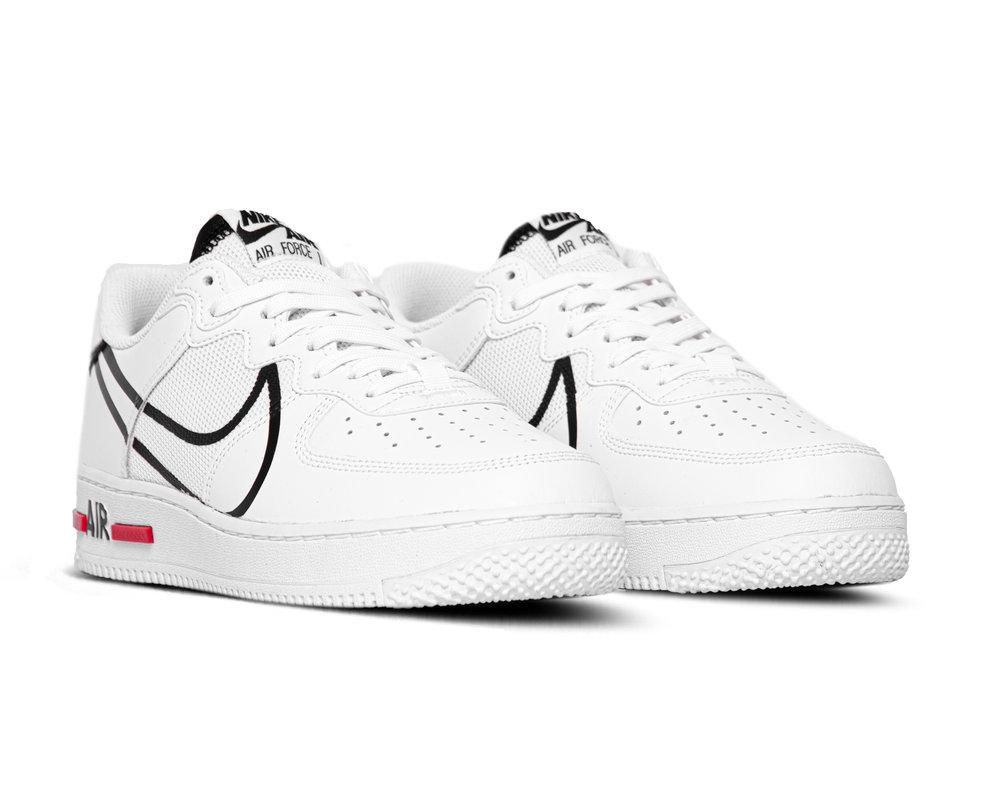 Nike Air Force 1 React White Black University Red CD4366 100