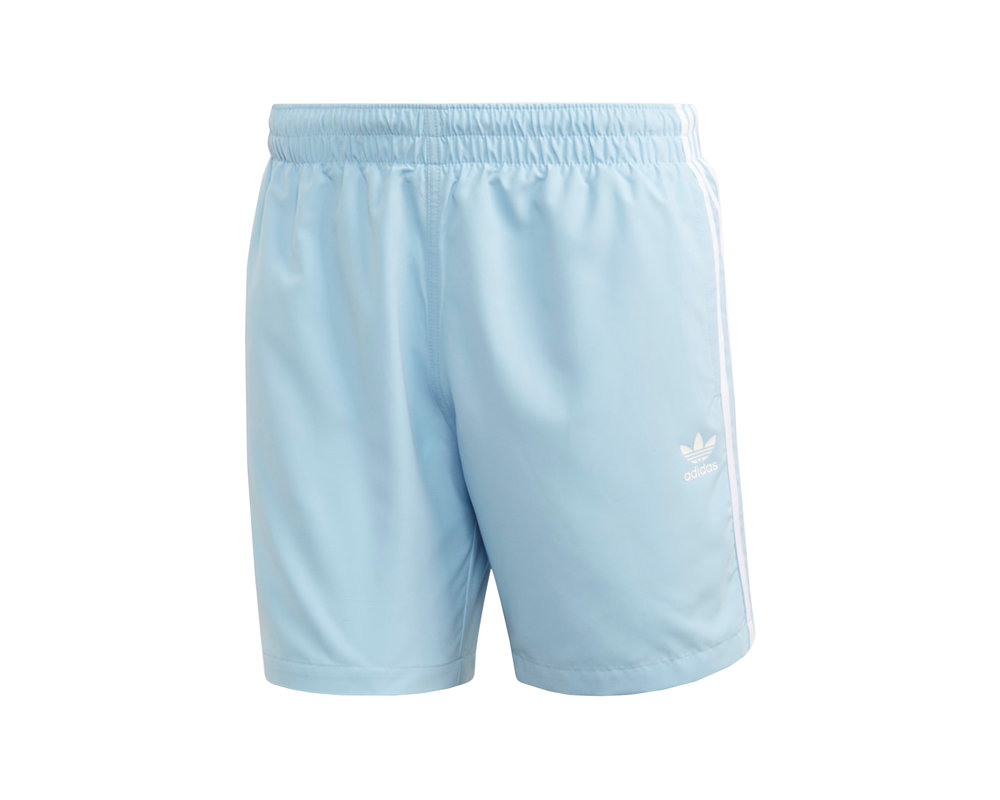 Adidas 3 Stripe Swim Short Clear Sky FM9875
