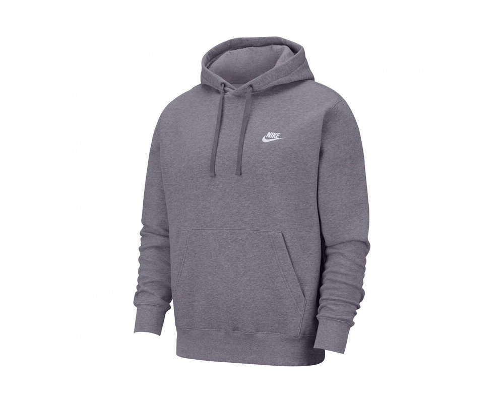 Nike NSW Club Fleece Hoodie Charcoal Heather Anthracite White BV2654 071