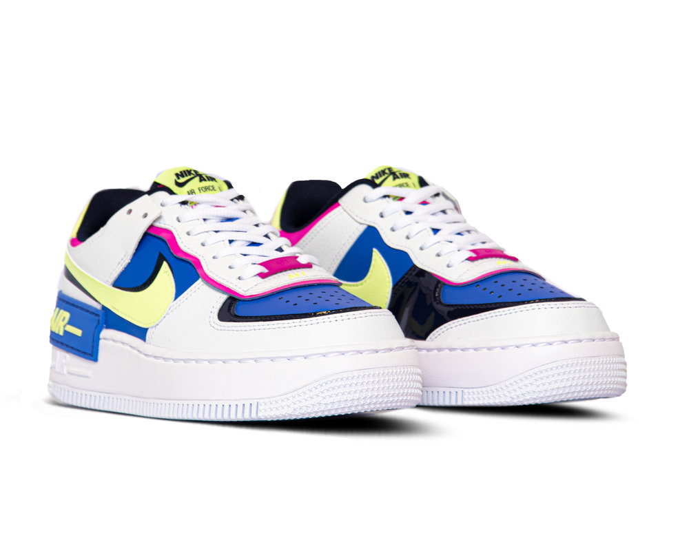 Nike Air Force 1 Shadow  White Barely Volt Sapphire Fire Pink CJ1641 100
