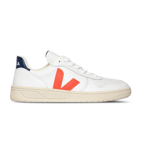 V10 Leather Extra White Fluo Orange VX022136